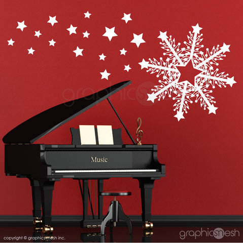 CHRISTMAS HUGE SNOWFLAKE & STARS - Holiday Wall Decals white