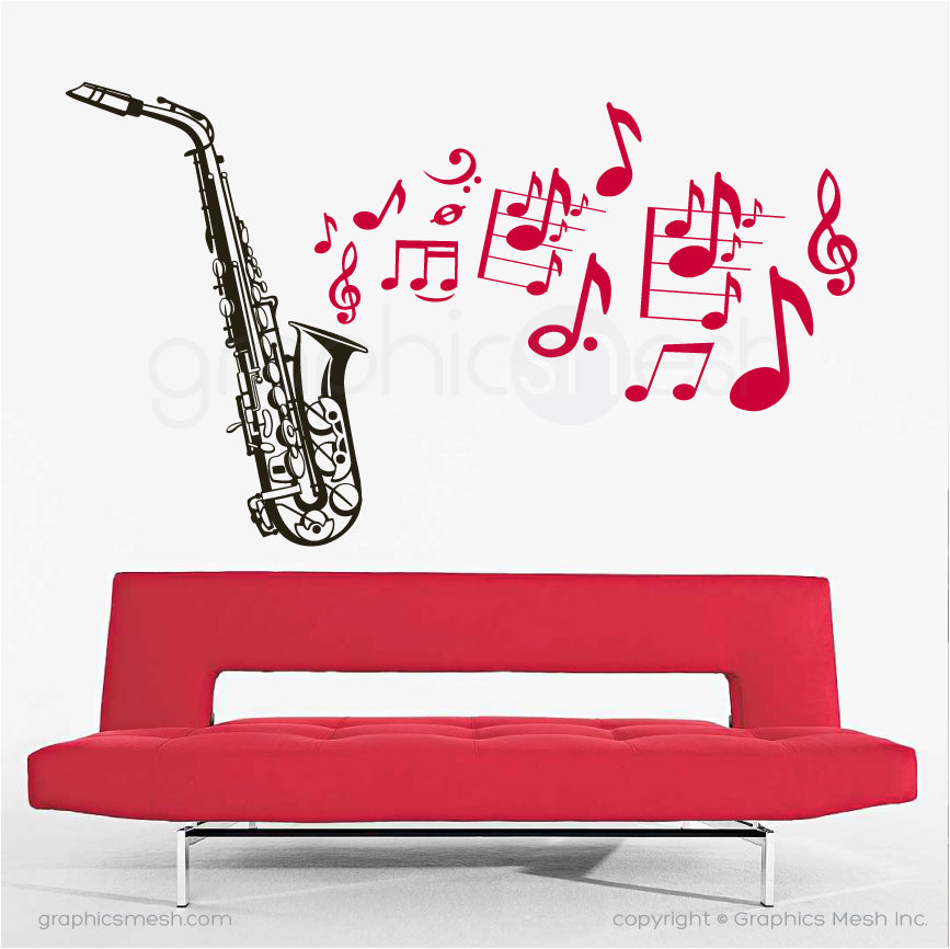 Saxophone with music notes - Wall decals