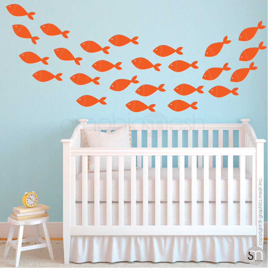 SCHOOL OF FISH - wall decals orange