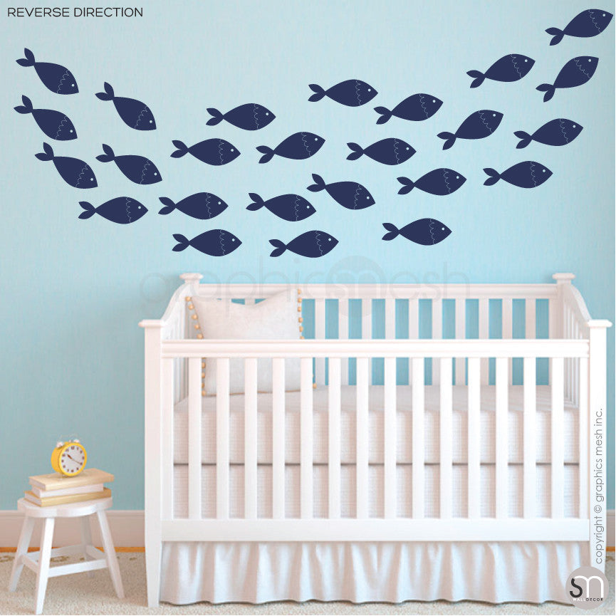 SCHOOL OF FISH - wall decals reverse navy