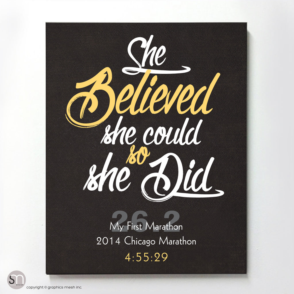 """She Believed She Could So She Did"" - PERSONALIZED MARATHON ART PRINT yellow"