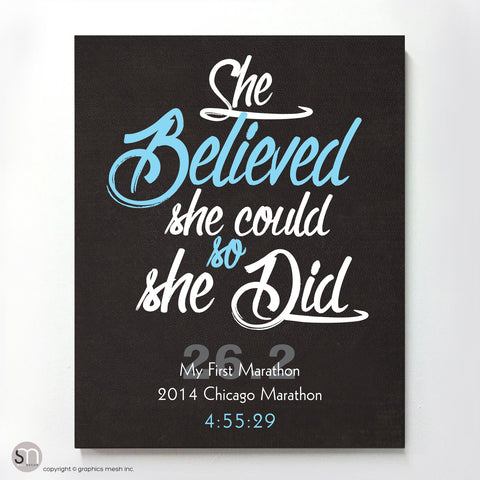 """She Believed She Could So She Did"" - PERSONALIZED MARATHON ART PRINT blue"
