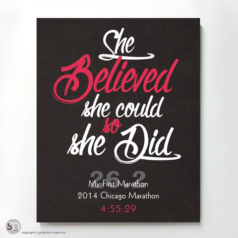 """She Believed She Could So She Did"" - PERSONALIZED MARATHON ART PRINT pink"
