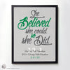 """She Believed She Could So She Did"" - PERSONALIZED HALF-MARATHON ART PRINT"