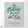 """She Believed She Could So She Did"" - PERSONALIZED HALF-MARATHON ART PRINT green"