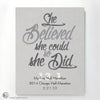 """She Believed She Could So She Did"" - PERSONALIZED HALF-MARATHON ART PRINT grey"