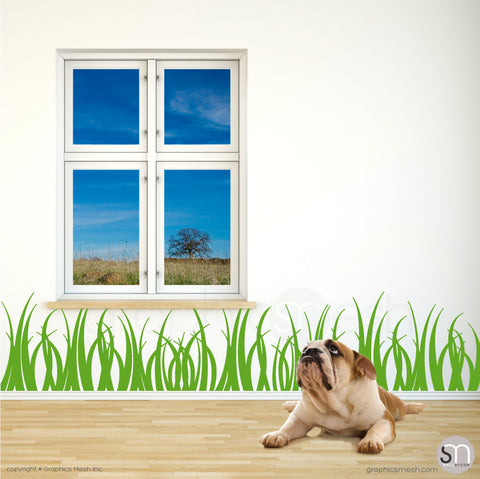 GRASS WALL DECALS 15 inch tall lime color