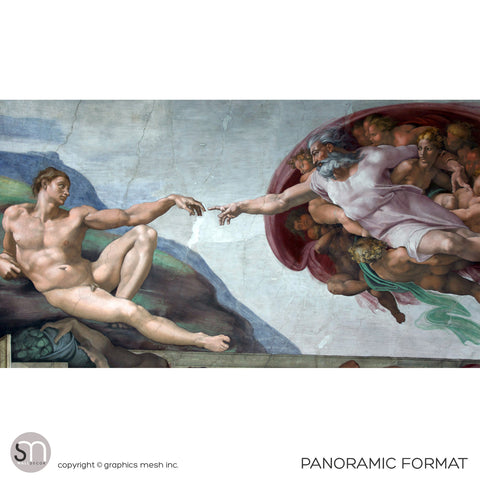 The Creation of Adam - Sistine Chapel Masterpiece by MICHELANGELO - Wall Mural panoramic