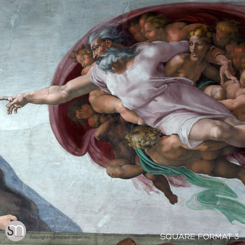 The Creation of Adam - Sistine Chapel Masterpiece by MICHELANGELO - Wall Mural FORMAT 3