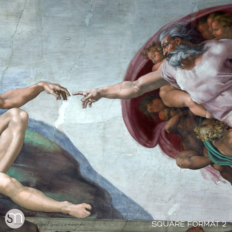 The Creation of Adam - Sistine Chapel Masterpiece by MICHELANGELO - Wall Mural FORMAT 2