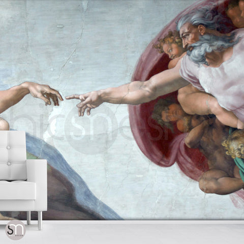The Creation of Adam - Sistine Chapel Masterpiece by MICHELANGELO - Wall MuralThe Creation of Adam - Sistine Chapel Masterpiece by MICHELANGELO - Wall Mural