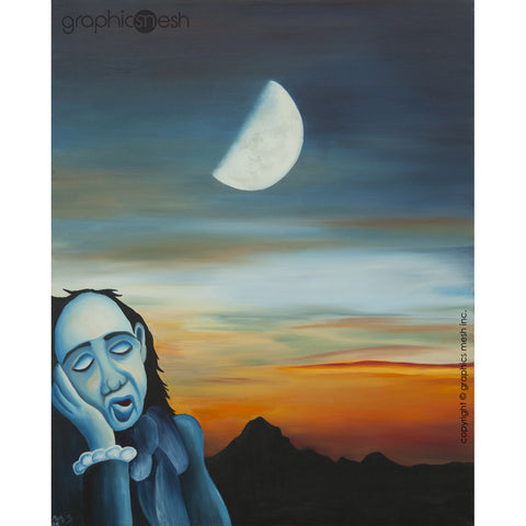 SLEEPY BLUE MAN - Reproduction of Original Fine Art Painting - Glicee Print full painting