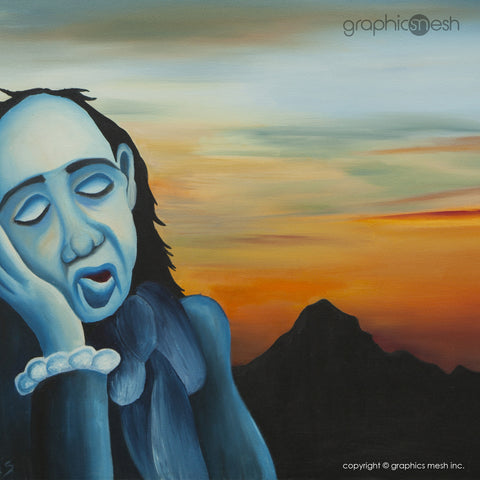 SLEEPY BLUE MAN - Original Fine Art Painting - Oil on Canvas