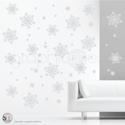 CHRISTMAS SNOWFLAKES & STARS - Holiday Wall Decals Grey