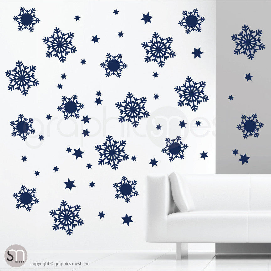 CHRISTMAS SNOWFLAKES & STARS - Holiday Wall Decals Navy