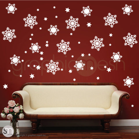 CHRISTMAS SNOWFLAKES & STARS - Holiday Wall Decals White