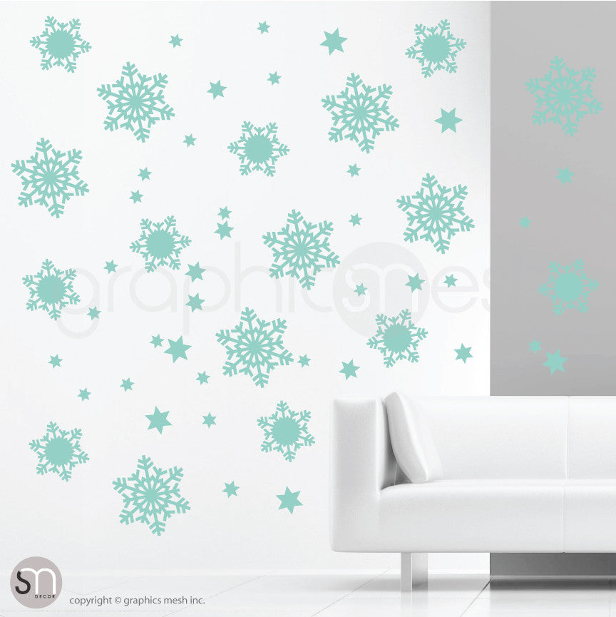CHRISTMAS SNOWFLAKES & STARS - Holiday Wall Decals MInt