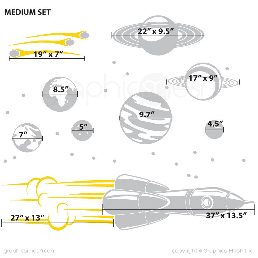 ADVENTURE IN SPACE - SOLAR SYSTEM & SPACESHIP wall decals