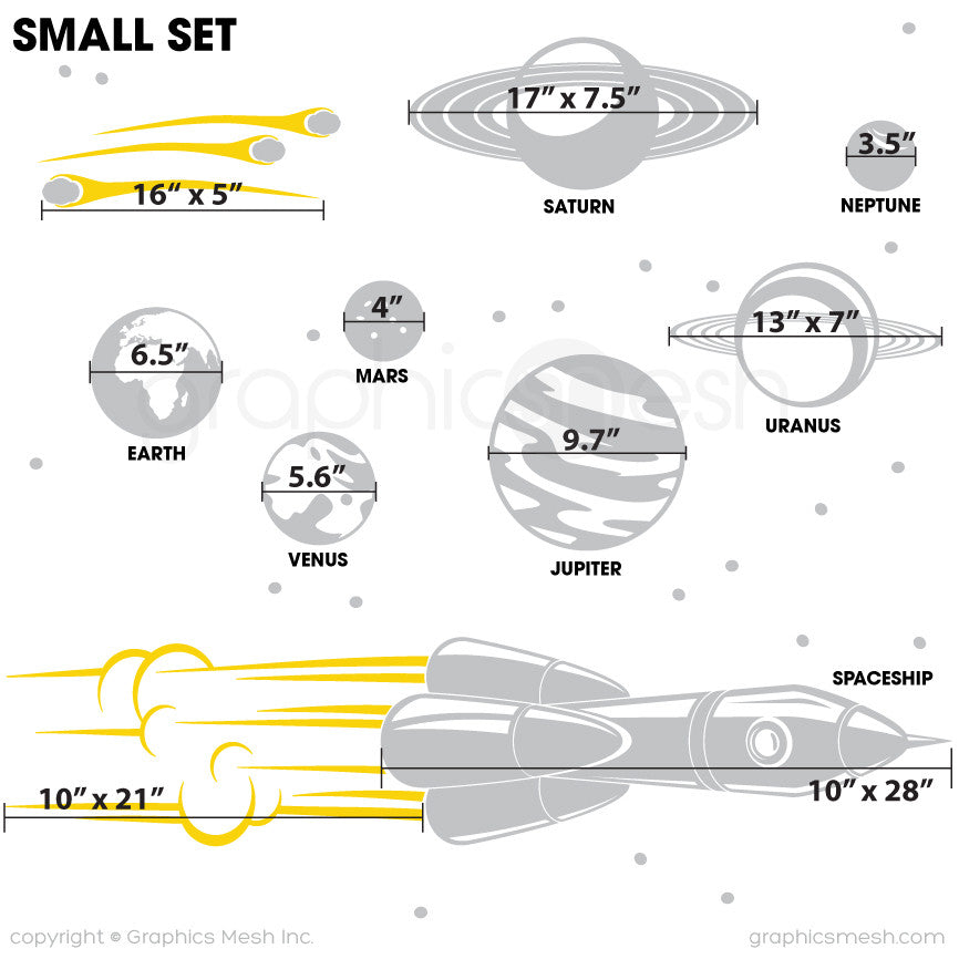 ADVENTURE IN SPACE - SOLAR SYSTEM & SPACESHIP wall decals SMALL SET