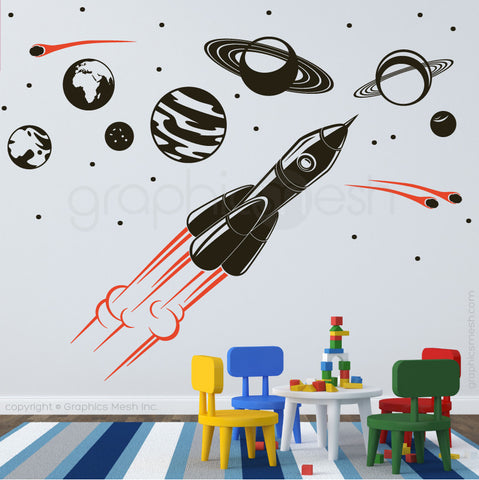 ADVENTURE IN SPACE - SOLAR SYSTEM & SPACESHIP wall decals black and orange