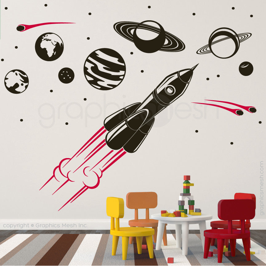 ADVENTURE IN SPACE - SOLAR SYSTEM & SPACESHIP wall decals black and red