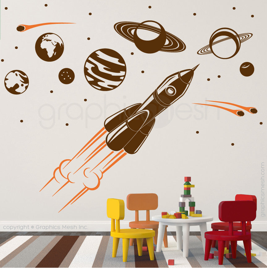 ADVENTURE IN SPACE - SOLAR SYSTEM & SPACESHIP wall decals brown and orange