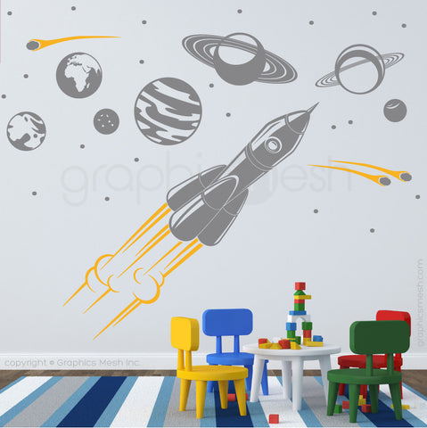 ADVENTURE IN SPACE - SOLAR SYSTEM & SPACESHIP wall decals slate and yellow