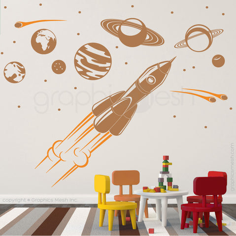 ADVENTURE IN SPACE - SOLAR SYSTEM & SPACESHIP wall decals light brown and golden yellow