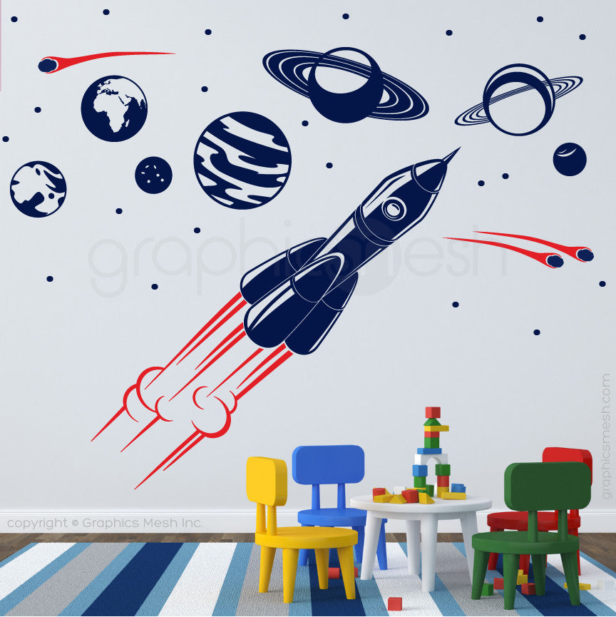 ADVENTURE IN SPACE - SOLAR SYSTEM & SPACESHIP wall decals navy and red