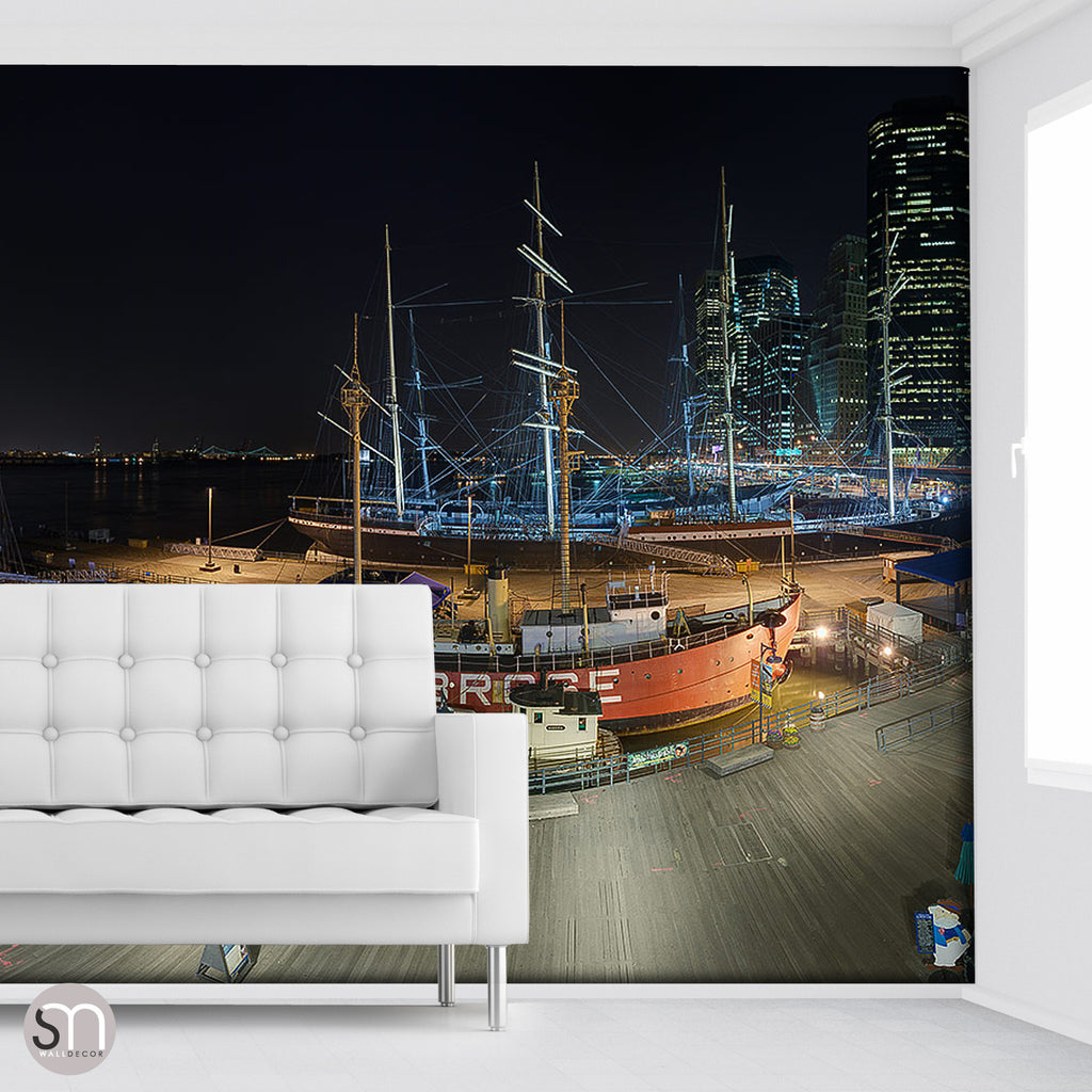 SOUTH STREET SEAPORT NY AT NIGHT - Wall Mural
