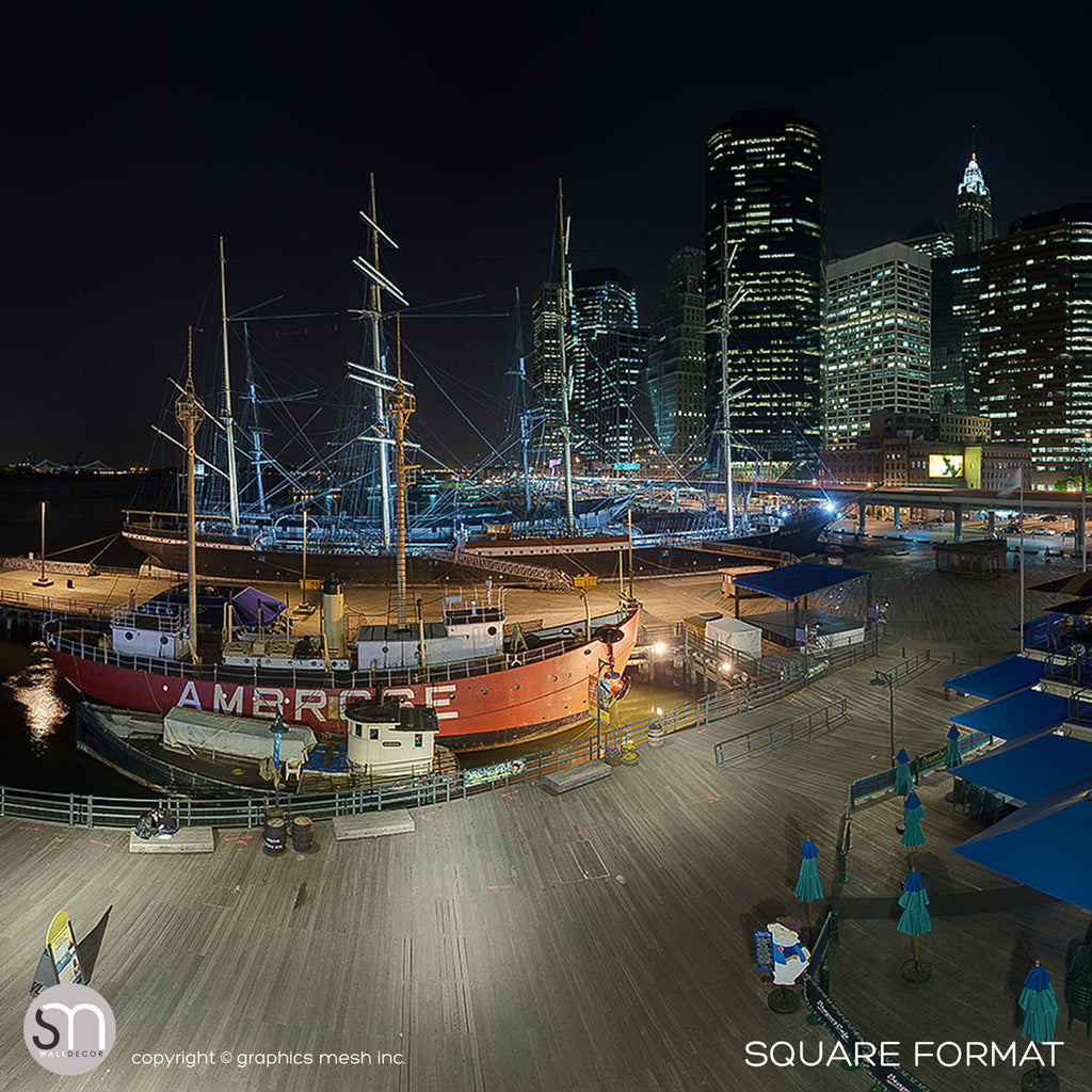 SOUTH STREET SEAPORT NY AT NIGHT - Wall Mural square