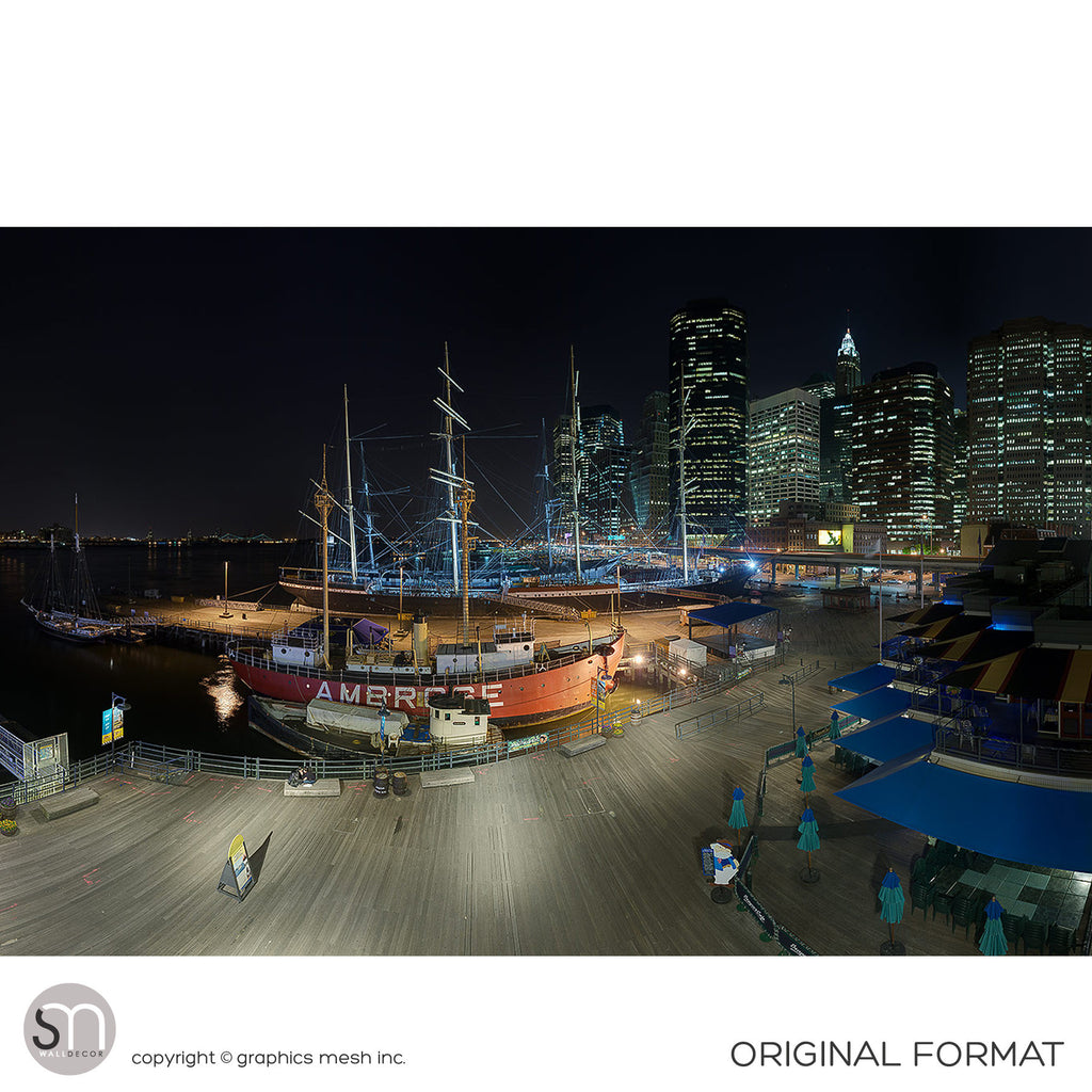 SOUTH STREET SEAPORT NY AT NIGHT - Wall Mural original