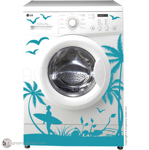 SUMMER SURFING WASHER DECOR teal