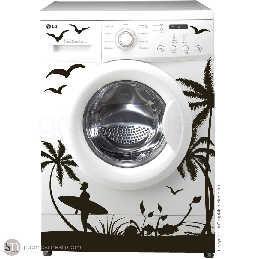 SUMMER SURFING WASHER DECOR black