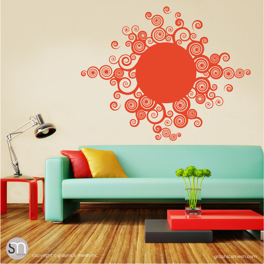 CURLY TRIBAL SUN - Wall Decals dark orange
