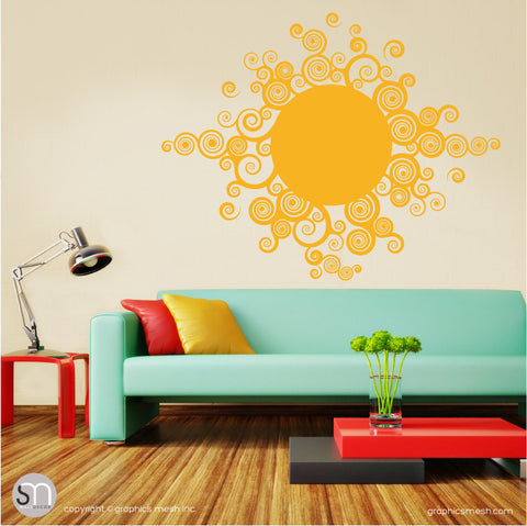 CURLY TRIBAL SUN - Wall Decals yellow
