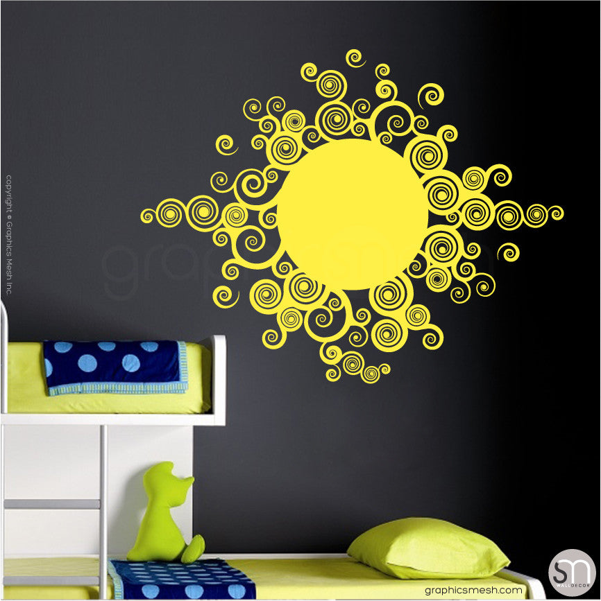 CURLY TRIBAL SUN - Wall Decals lemon
