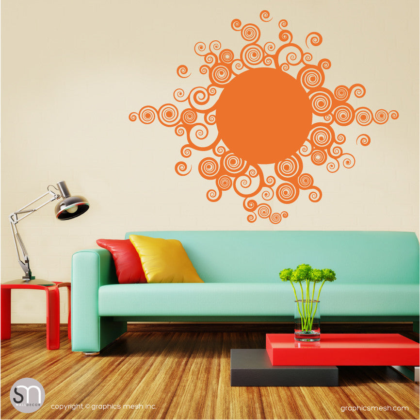 CURLY TRIBAL SUN - Wall Decals orange