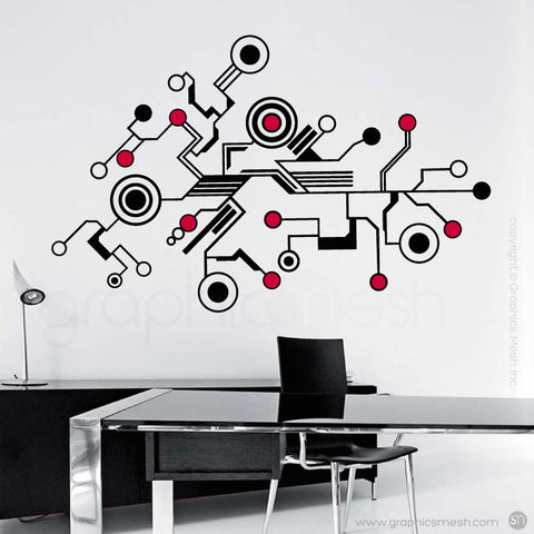 TECH SHAPES - wall decals red