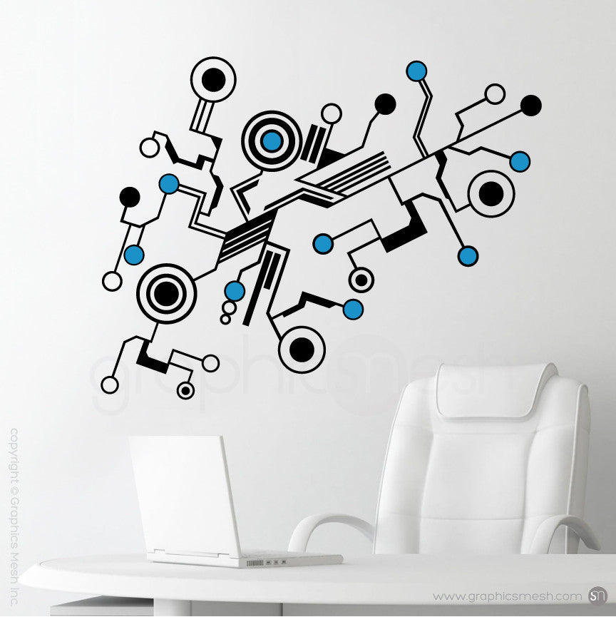 TECH SHAPES - wall decals light blue
