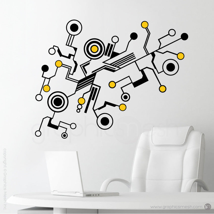 TECH SHAPES - wall decals yellow