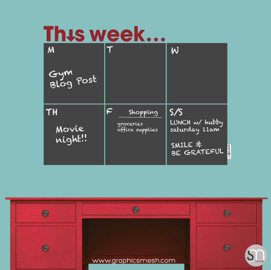 THIS WEEK... WEEKLY CALENDAR - CHALKBOARD DECALS burgndy text