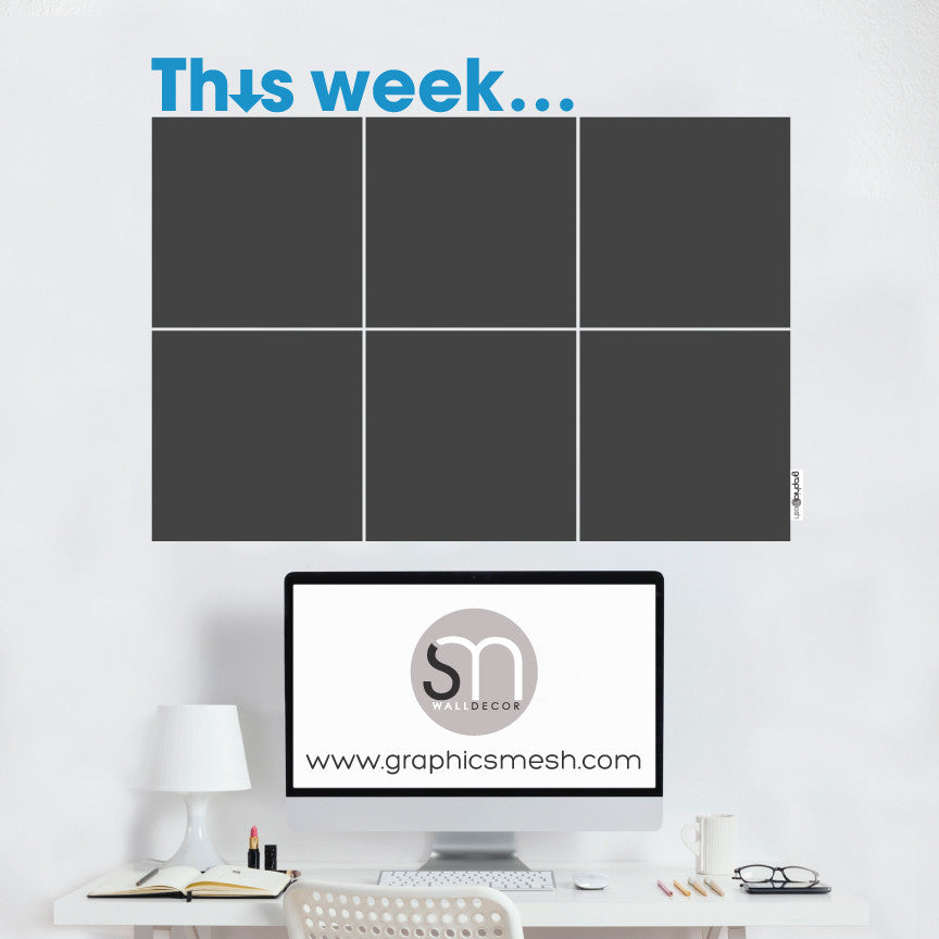 THIS WEEK... WEEKLY CALENDAR - CHALKBOARD DECALS blue text