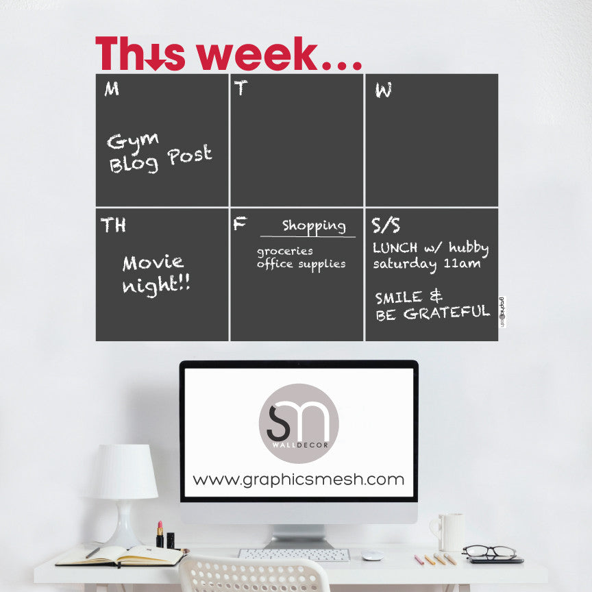THIS WEEK... WEEKLY CALENDAR - CHALKBOARD DECALS red text