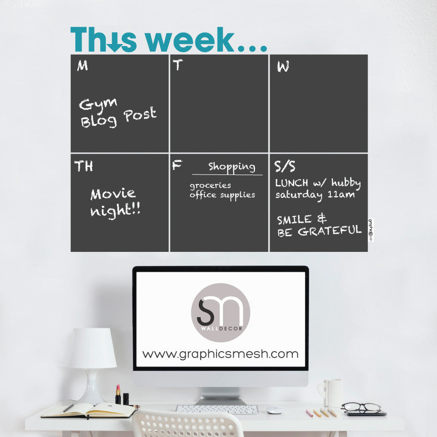 THIS WEEK... WEEKLY CALENDAR - CHALKBOARD DECALS teal text