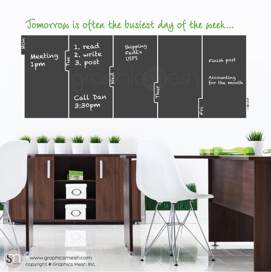 TOMORROW 5 DAY CALENDAR - CHALKBOARD DECALS lime quote