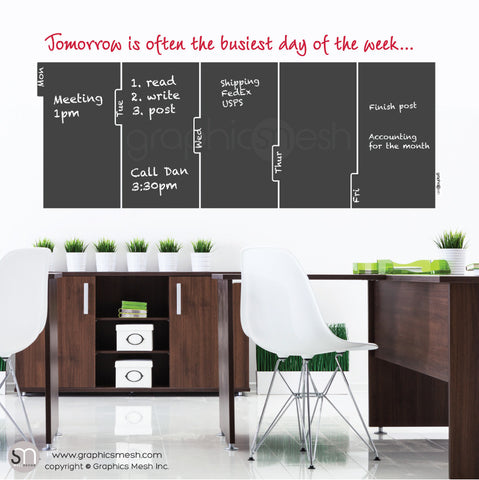 TOMORROW 5 DAY CALENDAR - CHALKBOARD DECALS red quote