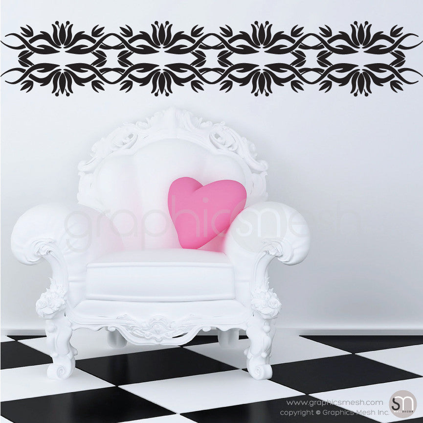 TRIBAL TULIP BORDER - Wall Decals black