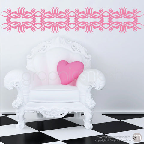 TRIBAL TULIP BORDER - Wall Decals pink