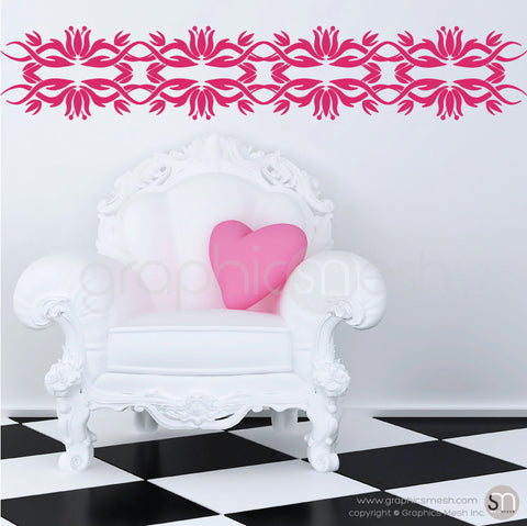 TRIBAL TULIP BORDER - Wall Decals raspberry